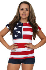 WOMEN'S JUNIORS RED WHITE BLUE SCREEN PRINT T-SHIRT USA FLAG AMERICAN PRIDE TOP