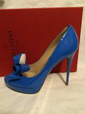 Valentino Couture Patent Leather Platform Open Toe Pump Heel Shoes Bow Blue $795