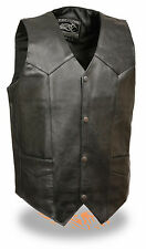 Mens Black Leather Classic 4 Snap Biker Vest