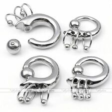 1pc Tribal Surgical Steel Hoop Nipple Nose Lip Captive Ring Ear Plugs Stretcher