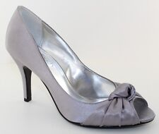 Nina Floreal Silver Open Toe Pumps Womens Evening Shoes Heels Sizes 6.5 - 10 NEW