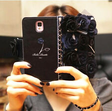 Luxury 3D Flower Bowknot Bow Card Slot PU Leather Case Cover For Phone+Chain
