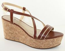 Kate Spade Tender Luggage Vacchetta Brown Leather Wedge Sandals Heels Size 9 NEW