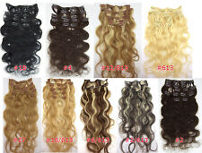 """Free Ship~20""""Curly/Wavy Clip in Real Human Hair Extensions 9Colors Best Quality"""
