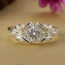 925 Silver Plated New Elegant Jewelry Swarovski crystal Wedding Wide Ring Women