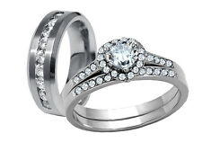 Nice His Hers 3 Pcs Mens Womens Stainless Steel Wedding Engagement Ring Band Set