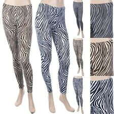 All Over Zebra Print Full Length Skinny Leg Leggings Casual Cotton Span S M L