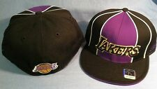 LOS ANGELES LAKERS PURPLE/ BLACK WHITE PIPING FLAT BRIM FITTED NBA CAP BY REEBOK