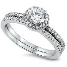 1 CT Halo Round Cubic Zirconia Wedding Set .925 Sterling Silver Ring Sizes 5-10