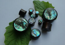 One Pair Handmade Abalone Shell Inlay Sono Wood Saddle Ear Plugs Tunnels Gauges