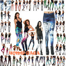 Bar Hopping Fashion Cocktails Party Gothic Printed Pants Black Leggings Trousers