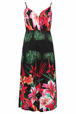 Yoursclothing Plus Size Womens Tropical Floral Print Slinky Plunge Maxi Dress