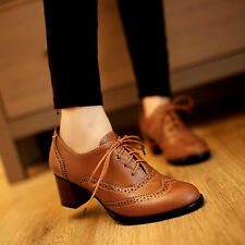 2014 Womens Brogue Lace Up HIgh Thick Heel Oxfords Retro Boat Shoes Plus Size