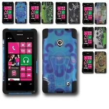 For Nokia Lumia 521 Hybrid Hard Cell Phone Case+Silicone Soft Cover Kickstand