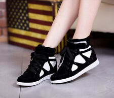 Womens inside heighten frosted Lace up high-top sneakers velcro ankle boots shoe