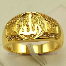 Size 9,10,11 ALLAH Ring,REAL RARE 18K YELLOW GOLD GP SOLID FILL GEMSTONE 1907r
