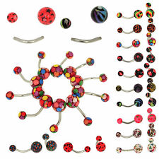 Wholesale Lot of 10PC 14G Belly Button Navel Rings Barbell Body Piercing Jewelry