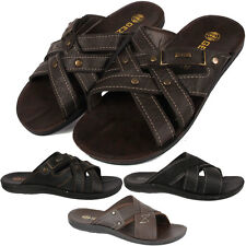 NEW MENS BOYS MULES BEACH FLIP FLOPS SUMMER SANDALS IN BLACK BROWN SIZE 7-11