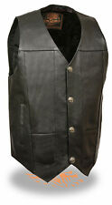 Mens Black Leather Vest w Gun Pockets and Buffalo Snaps