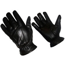 NEW REAL LEATHER TACTICAL POLICE SEARCH GLOVES KEVLAR LINER Black