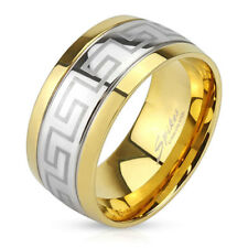 316L Stainless Steel Silver Men's Greek Key Center Gold Band Ring Size 9-13