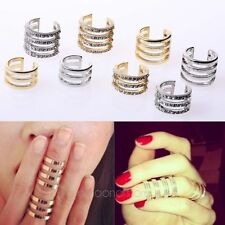 hot new Gold/Silver Stack Plain/Crystal Above Knuckle Band Mid Finger Tip Ring