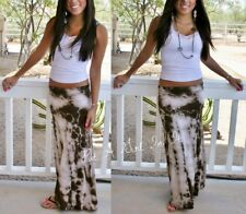 RUCHED WAIST TAUPE BROWN BOHO STONE TIE DYE LONG MAXI KNIT SKIRT BEACH S M L