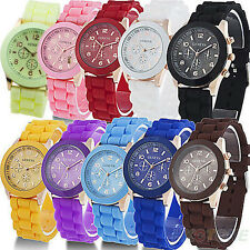 NEW Women's/Men HOT Luxury Geneva Silicone Quartz Ladies Sports Wrist Watch