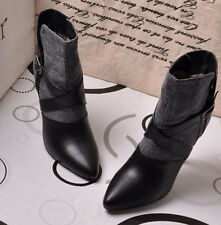 Pointed Toe Metal Buckle Sexy Lady Leather Classic High Heel Combat Ankle Boots