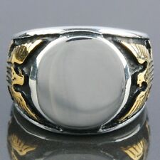 Fashion Men's Heavy Stainless Steel Carved Golden Eagle Hawk Finger Ring Jewelry