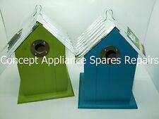 Garden Wild Bird House with Wooden Body and Metal Roof