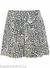 EX MISS SELFRIDGE BLACK WHITE PRINTED HIGH WAIST SUMMER SHORTS SKORT SIZE 6 - 14