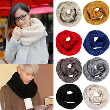 Mens Womens Warm Winter Knit Crochet Infinity Scarf Shawl Cowl Neck Circle Cable