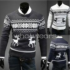 Fashion Men's Round Neck Deer Print Sweater Casual Pullover Sweater W2040 FKG