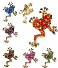 Unisex Gold Tone Brooches Pins Rhinestone Crystal Frog Animal Party Jewelrys New