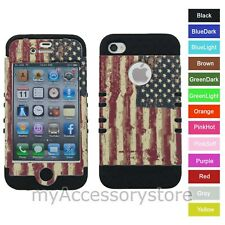 For iPhone 4s 4 USA American Flag Hybrid Hard&Rubber Rugged Armor Case Cover