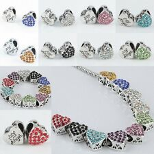 Lots Crystal Rhinestone Heart LOVE Carved Angel Loose Beads Fit Charms Bracelet