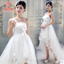 fashion womens long tailing white bowknot irregular hem wedding dress plus size