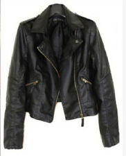 Vintage Women Black Slim Biker Motorcycle faux Leather Zipper Jacket Coat Short