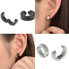 Pair Men's Stainless Steel Ear Stud Cuff Hoop Non-Piercing Clip-on Earrings Punk