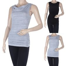 Solid Plain Sleeveless Ruched Cowl Neck Tank Top Casual Rayon Spandex S M L