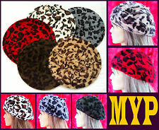 Beret, Animal Print, Leopard, long-haired Angora-wool, Hat, Beret NEW