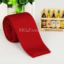 Men Skinny Solid Color Knit Knitted Woven Slim Square Wedding Tie Necktie MA