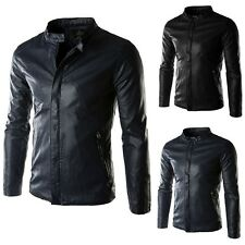 Fashion New Men Slim Fit Designed Motorcycle Biker Leather Jacket Outwear Coat