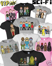 VIPwees Ladies T-Shirt Sci-Fi Movie Inspired Caricatures Choose Your Design