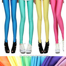 New Women Neon Candy Shiny Bright Fluorescent Glow Stretch Tights Leggings Pants