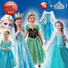 Girls Kids Costume Cosplay Party Gown Dress Princess Frozen Elsa Anna Gorgeous