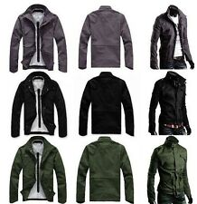 Military Style Mens High Collar Casual Jacket Zip Button Coat Slim Fit PK40