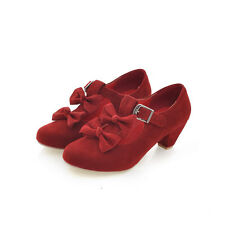 New Women Mid Heels Sweet Bow knot Causal Mary Jeans Pumps Ladies Shoe Plus Size