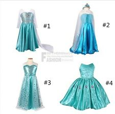 Girls Kid Frozen Ice Queen Elsa Dress Up Gown Costume Princess Party Fancy Dress